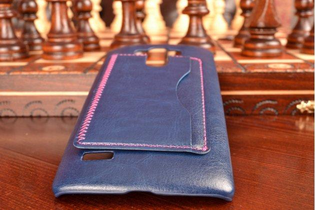Роскошная элитная премиальная задняя панель-крышка для lg g4 beat / g4s из качественной кожи буйвола с визитницей синий