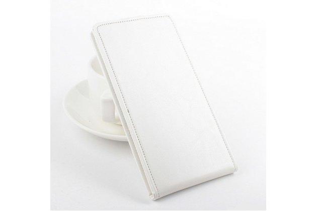 Вертикальный откидной чехол-флип для lg leon h324 белый кожаный
