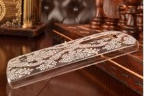Необычная уникальная пластиковая задняя панель-чехол-накладка для lg leon h340 прозрачная с белыми узорами