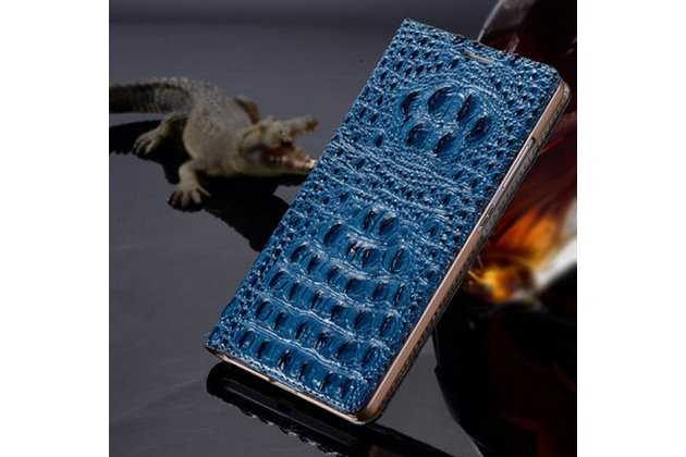 Роскошный эксклюзивный чехол с объёмным 3d изображением рельефа кожи крокодила синий для  lg max x155. только в нашем магазине. количество ограничено