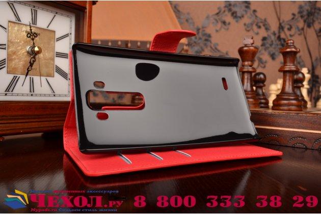 Чехол-книжка из качественной импортной кожи с мульти-подставкой застёжкой и визитницей для лджи джи флекс 2 н959 красный