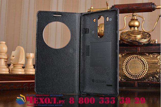 Чехол-книжка для lg g3s mini d724/d722 черный кожаный с окошком для входящих вызовов