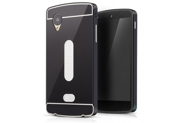 Металлическая задняя панель-крышка-накладка из тончайшего облегченного авиационного алюминия для lg google nexus 5 d821 черная