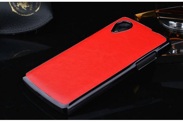 Роскошная элитная премиальная задняя панель-крышка на пластиковой основе обтянутая импортной кожей для lg google nexus 5 d821 королевский красный