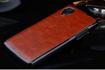 Роскошная элитная премиальная задняя панель-крышка на пластиковой основе обтянутая импортной кожей для lg google nexus 5 d821 королевский коричневый