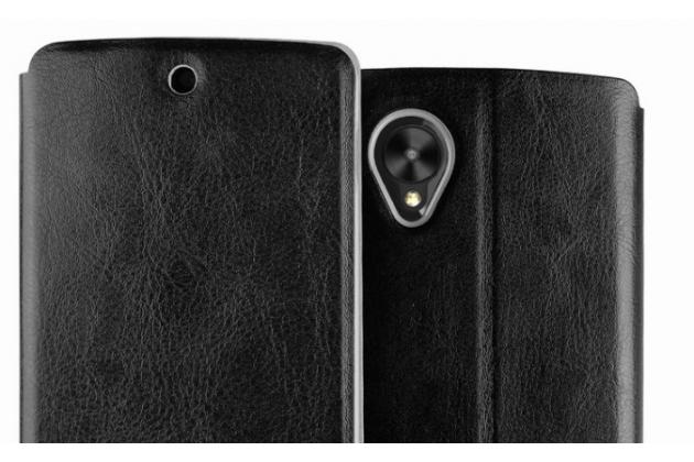 Чехол-книжка из качественной водоотталкивающей импортной кожи на жёсткой металлической основе для lg google nexus 5 d821 черный