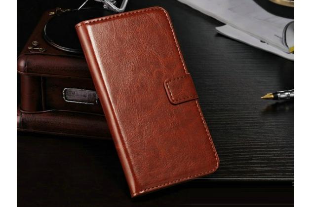 Чехол-книжка из качественной импортной кожи с мульти-подставкой застёжкой и визитницей для лджи гугл нексус 5 д821  коричневый