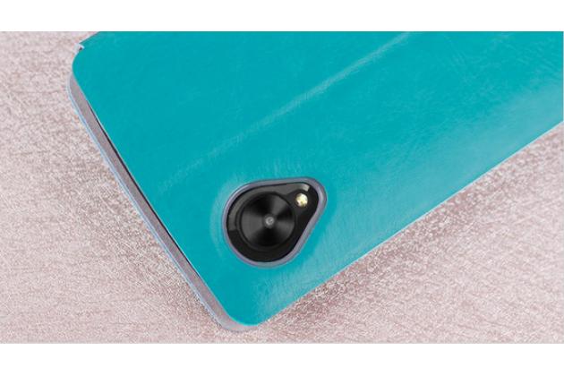 Чехол-книжка из качественной водоотталкивающей импортной кожи на жёсткой металлической основе для lg google nexus 5 d821 бирюзовый