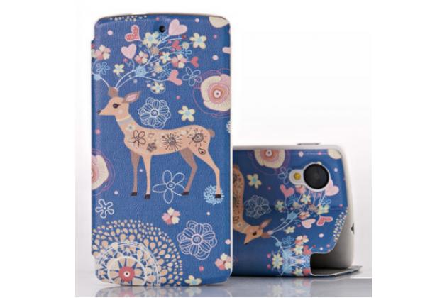 Чехол-книжка с безумно красивым расписным рисунком оленя в цветах на lg google nexus 5 d821