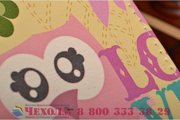 """Уникальный необычный чехол-книжка для lg magna h502 """"тематика влюбленный совы"""""""