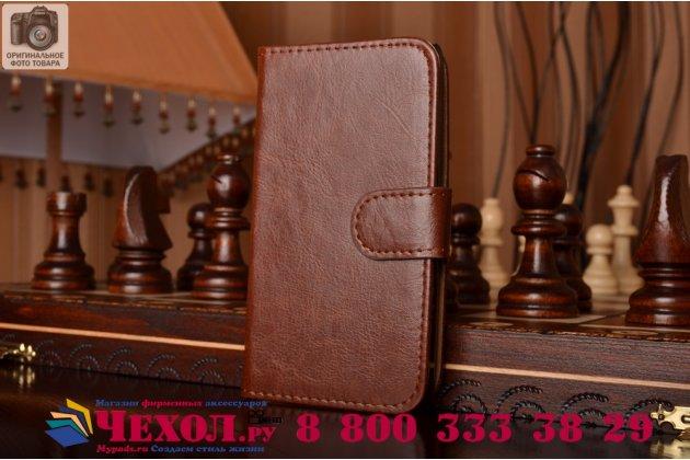 Чехол-книжка из качественной импортной кожи с мульти-подставкой застёжкой и визитницей для lg spirit h422/ h440y коричневый
