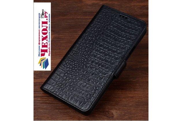 Роскошный эксклюзивный чехол с фактурной прошивкой рельефа кожи крокодила и визитницей черный для leeco (letv) le s3 ecophone 5.5 (x622 / x626). только в нашем магазине. количество ограничено