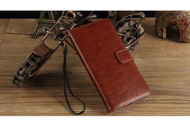 Чехол-книжка из качественной импортной кожи с подставкой застёжкой и визитницей для леэко летв ле с3 экофон 5.5 (x622 / x626) коричневый