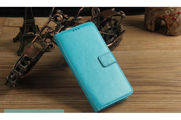 Чехол-книжка из качественной импортной кожи с подставкой застёжкой и визитницей для леэко летв ле с3 экофон 5.5 (x622 / x626) голубой