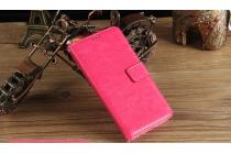Чехол-книжка из качественной импортной кожи с подставкой застёжкой и визитницей для леэко летв ле с3 экофон 5.5 (x622 / x626)  розовый