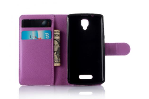 """Чехол-книжка из качественной импортной кожи с мульти-подставкой застёжкой и визитницей для lenovo a1000/ a2800 /a2800d 4.0"""" фиолетовый"""