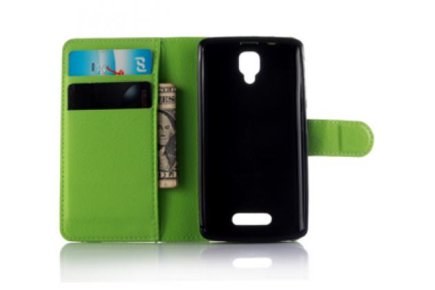 """Чехол-книжка из качественной импортной кожи с мульти-подставкой застёжкой и визитницей для lenovo a1000/ a2800 /a2800d 4.0"""" зеленый"""