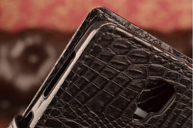 """Чехол-книжка с подставкой для lenovo a1000/ a2800 /a2800d 4.0"""" лаковая кожа крокодила черный"""