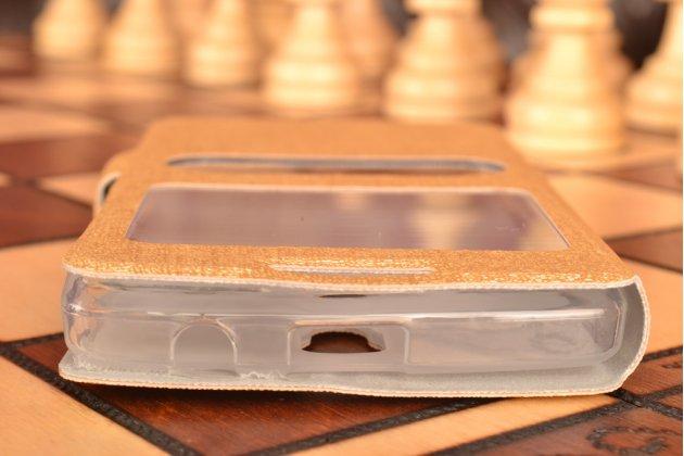 """Чехол-книжка для lenovo a2010 4.5"""" золотой с окошком для входящих вызовов и свайпом водоотталкивающий"""