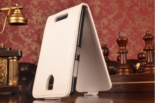 """Вертикальный  откидной чехол-флип  для lenovo a2010 белый из натуральной кожи """"prestige"""" италия"""