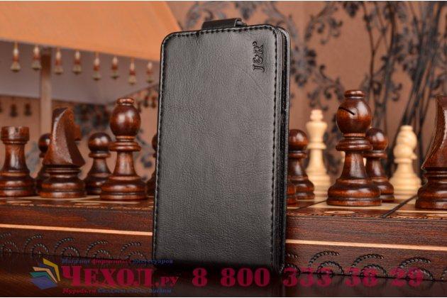 """Вертикальный откидной чехол-флип для lenovo a2010 черный из натуральной кожи """"prestige"""" италия"""