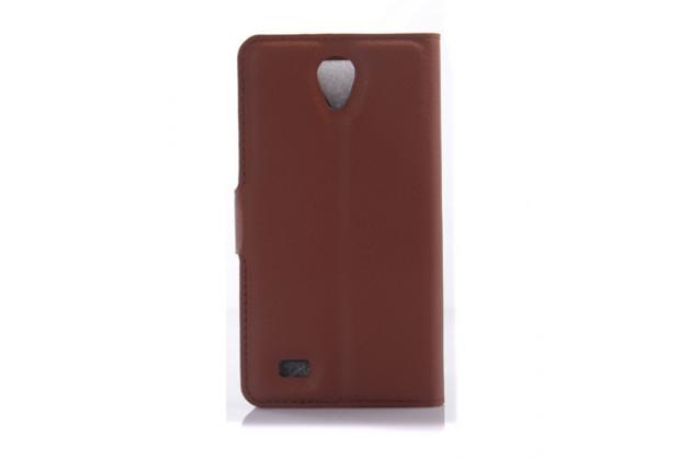 """Чехол-книжка из качественной импортной кожи с подставкой застёжкой и визитницей для lenovo a3600 /a3600d / a3800 / a3800d 4.5"""" коричневый"""