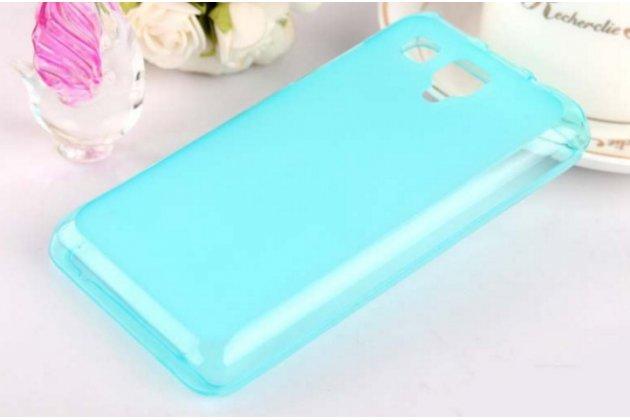 Ультра-тонкая полимерная из мягкого качественного силикона задняя панель-чехол-накладка для lenovo a396 / a238t голубая