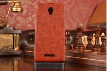 Вертикальный откидной чехол-флип для lenovo a5000 коричневый кожаный