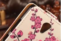 """Вертикальный откидной чехол-флип для  lenovo a5000 5.0""""  """"тематика цветок сакуры"""""""