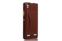 Роскошная элитная премиальная задняя панель-крышка для lenovo a6000/ a6010 plus из качественной кожи буйвола с визитницей коричневый