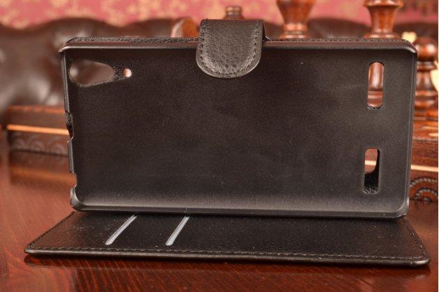 """Чехол-книжка из качественной импортной кожи с мульти-подставкой застёжкой и визитницей для леново а6000/ а6010 плюс 5,0""""  черный"""