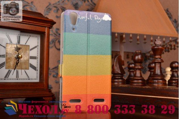 """Уникальный необычный чехол-книжка для lenovo a6000/ a6010 plus 5.0""""  """"тематика все цвета радуги"""""""
