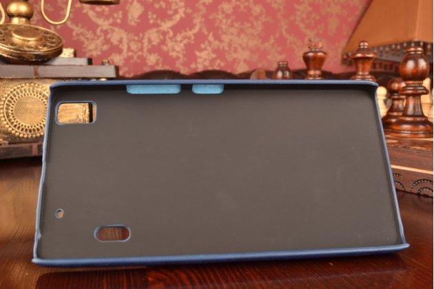 """Роскошная элитная премиальная задняя панель-крышка для lenovo k3 note / a7000 5.5"""" из качественной кожи буйвола с визитницей синяя"""