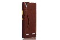 Роскошная элитная премиальная задняя панель-крышка для lenovo k3 note/a7000 из качественной кожи буйвола с визитницей коричневый