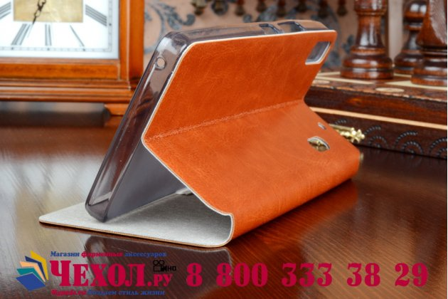 Чехол-книжка из качественной водоотталкивающей импортной кожи на жёсткой металлической основе для lenovo a7000 коричневый