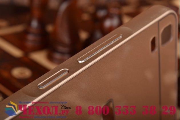 """Металлическая задняя панель-крышка-накладка из тончайшего облегченного авиационного алюминия для  lenovo k3 note / a7000 5.5"""" золотая"""