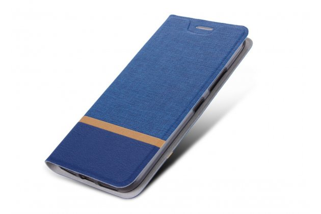 """Чехол-книжка из качественной водоотталкивающей на жёсткой металлической основе для lenovo a7010 / vibe x3 lite/ k4 note 5.5"""" синий"""