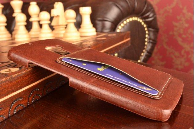 """Роскошная элитная премиальная задняя панель-крышка для lenovo a7010 / vibe x3 lite/ k4 note 5.5"""" из качественной кожи буйвола с визитницей коричневая"""