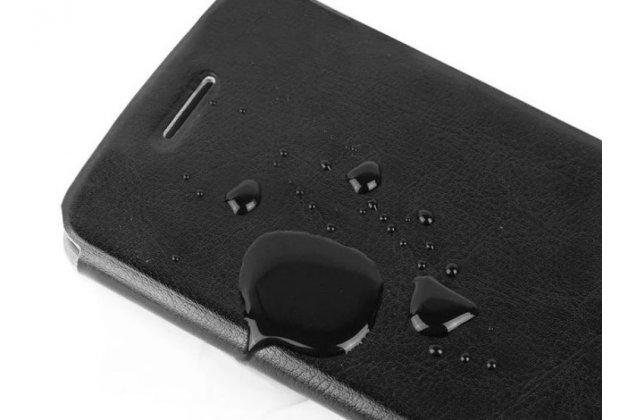 """Чехол-книжка из качественной водоотталкивающей импортной кожи на жёсткой металлической основе для lenovo a889 / a880 6.0"""" черный"""
