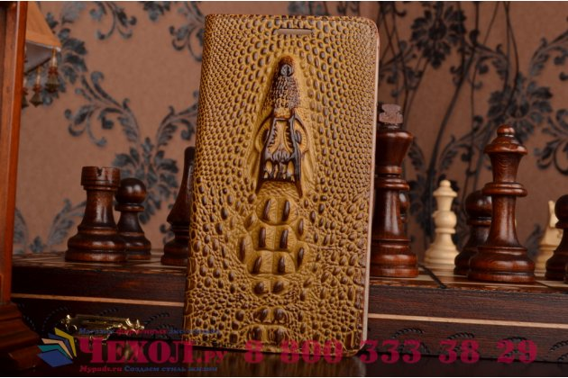 Роскошный эксклюзивный чехол с объёмным 3d изображением кожи крокодила коричневый для lenovo k3 note/a7000. только в нашем магазине. количество ограничено