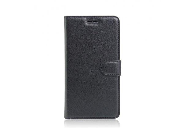 """Чехол-книжка из качественной импортной кожи с подставкой застёжкой и визитницей для lenovo k5 note  (k52t38 / k52e78) 5.5"""" черный"""