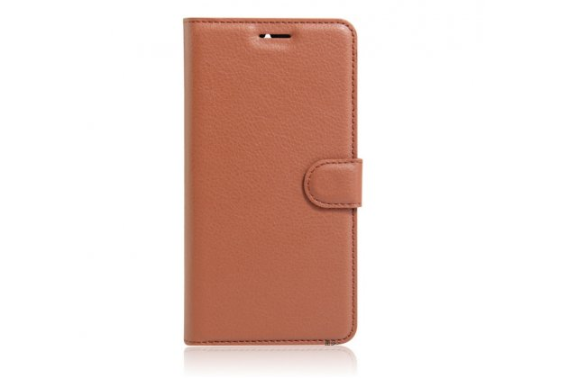 """Чехол-книжка из качественной импортной кожи с подставкой застёжкой и визитницей для lenovo k5 note  (k52t38 / k52e78) 5.5"""" коричневый"""