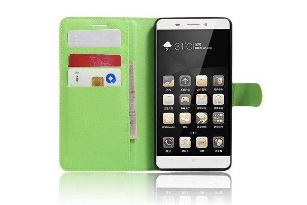 """Чехол-книжка из качественной импортной кожи с подставкой застёжкой и визитницей для lenovo k5 note  (k52t38 / k52e78) 5.5"""" зелёный"""