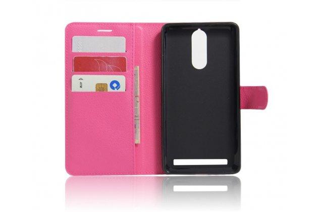 """Чехол-книжка из качественной импортной кожи с подставкой застёжкой и визитницей для lenovo k5 note  (k52t38 / k52e78) 5.5"""" розовый"""