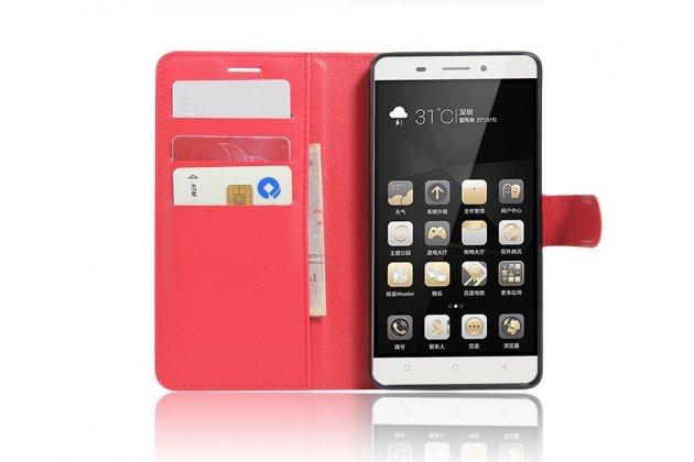 """Чехол-книжка из качественной импортной кожи с подставкой застёжкой и визитницей для lenovo k5 note  (k52t38 / k52e78) 5.5"""" красный"""