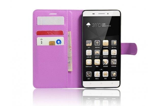 """Чехол-книжка из качественной импортной кожи с подставкой застёжкой и визитницей для lenovo k5 note  (k52t38 / k52e78) 5.5"""" фиолетовый"""