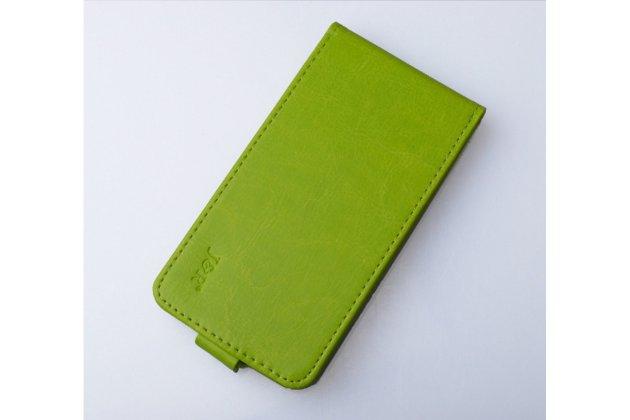 """Вертикальный откидной чехол-флип для lenovo k5 note  (k52t38 / k52e78) 5.5"""" зелёный кожаный"""