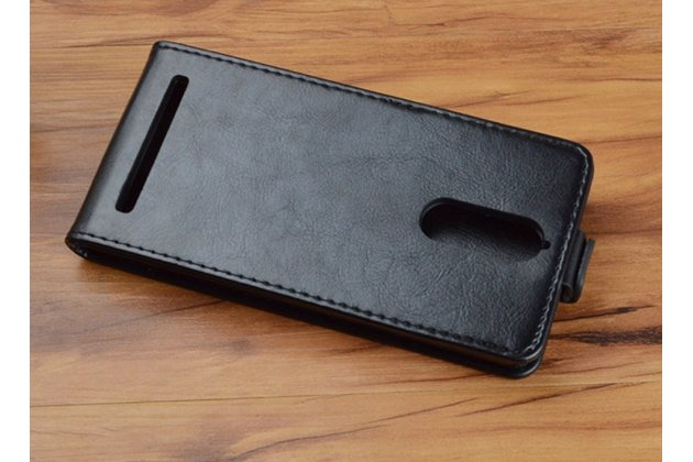 """Вертикальный откидной чехол-флип для lenovo k5 note  (k52t38 / k52e78) 5.5"""" черный кожаный"""