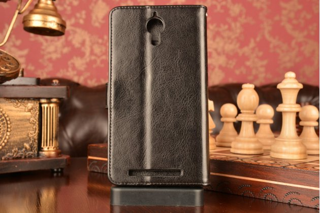 Чехол-книжка из качественной импортной кожи с мульти-подставкой застёжкой и визитницей для леново к80 / п90/ п90 про черный
