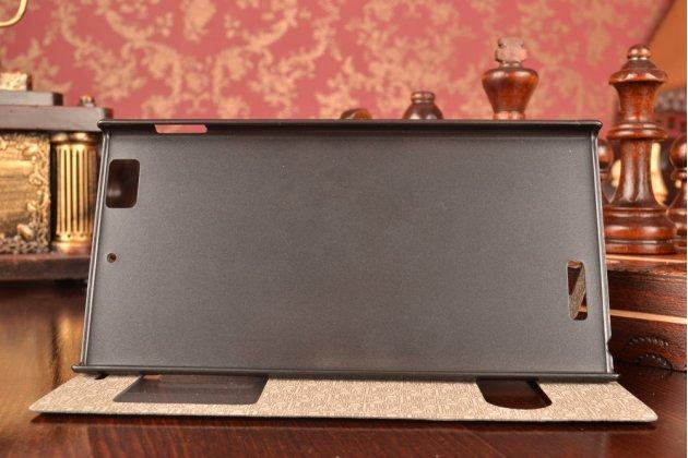 Чехол-книжка для lenovo k900 черный с окошком для входящих вызовов и свайпом водоотталкивающий